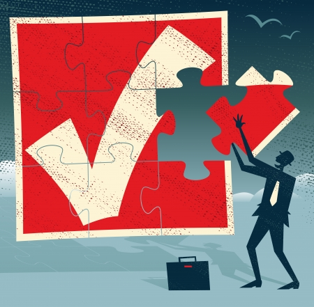 Abstract Businessman with Missing Piece of Puzzle  Great illustration of Retro styled Businessman holding up the final Missing Piece of a huge Jigsaw Puzzle