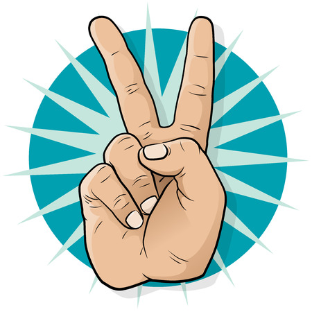 Pop Art Victory Hand Sign  Vector