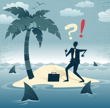 Abstract Businessman is trapped on an Island  Great illustration of Retro styled Businessman who has found himself stranded on a remote desert island with no chance of escape as he is circled by a group of hungry man eating sharks