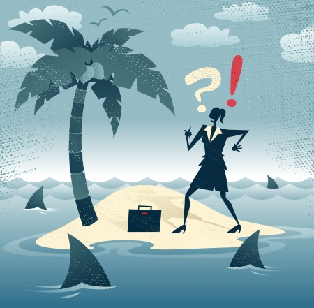 castaway: Abstract Businesswoman is trapped on an Island  Great illustration of Retro styled Businesswoman who has found herself stranded on a remote desert island with no chance of escape as she is circled by a group of hungry woman eating sharks