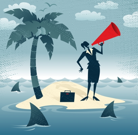 castaway: Abstract Businesswoman Calls for Help on an Island Great illustration of Retro styled Businesswoman desperately trying to make herself heard with her huge megaphone as she has found herself stranded on a remote desert island