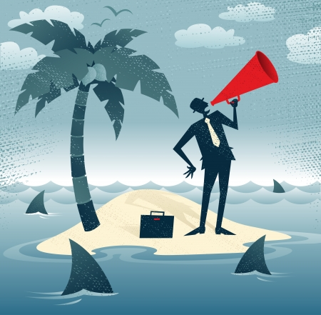 castaway: Abstract Businessman Calls for Help on an Island Great illustration of Retro styled Businessman desperately trying to make himself heard with his huge megaphone as he has found himself stranded on a remote desert island   Illustration