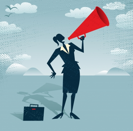amplify: Abstract Businesswoman with Megaphone  Great illustration of Retro styled Businesswoman shouting at the top of her voice through a loudspeaker megaphone