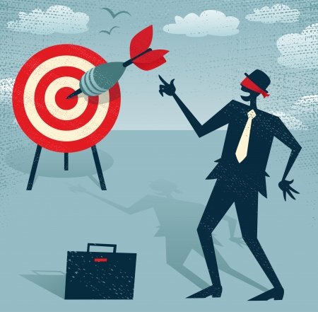 Abstract Businessman with Dart is Blindfolded  Great illustration of Retro styled Businessman who has an amazing sixth sense and can hit the target blindfolded