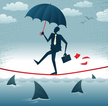 tightrope: Abstract Zakenman wandelingen Tightrope met vertrouwen Grote illustratie van Retro stijl Zakenman zorgvuldig lopen over een zeer hoge koord met zijn paraplu voor extra bescherming Stock Illustratie