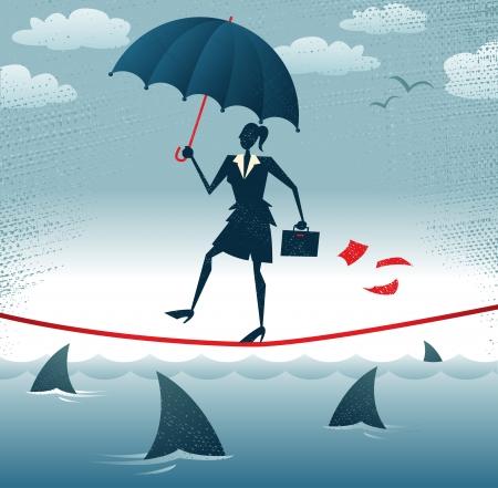 tightrope: Abstract Zakenvrouw loopt Tightrope met vertrouwen Grote illustratie van Retro stijl Zakenvrouw voorzichtig lopen over een zeer hoge koord met haar paraplu voor extra bescherming Stock Illustratie
