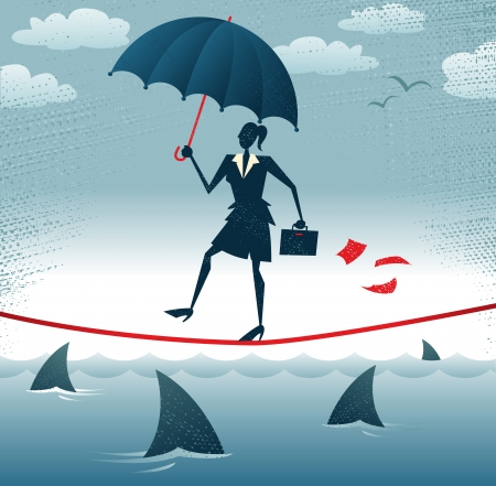 Abstract Businesswoman walks Tightrope with Confidence  Great illustration of Retro styled Businesswoman walking carefully across a very high tightrope with her umbrella for added protection