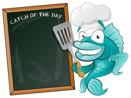 Chef lindo de los pescados con la espátula y la Junta Menú Gran ejemplo de un Cute Cartoon Bacalao Chef la celebración de una fritura Espátula junto a Menu Board Ilustración de vector