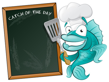 fish icon: Cute Chef Fish with Spatula and Menu Board  Great illustration of a Cute Cartoon Cod Fish Chef holding a Frying Spatula next to Menu Board
