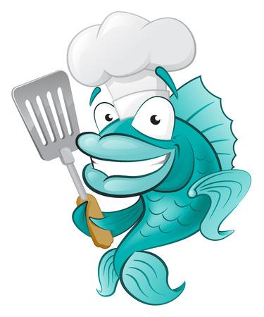 k�che: Netter Chef Fisch mit Spachtel Gro�e Illustration eines niedlichen Comic-Kabeljau Chef h�lt eine Bratpfanne Spachtel