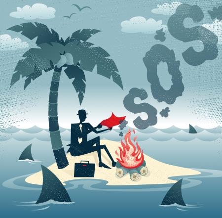 抽象的な実業家レトロ スタイルの実業家を必死にしようとしての島偉大なイラストに煙の信号を送るように彼はリモート砂漠の島で座礁自分自身を  イラスト・ベクター素材