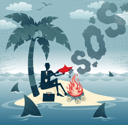 Abstract Businessman sends Smoke Signals on an Island  Great illustration of Retro styled Businessman desperately trying to make contact with potential rescuers as he has found himself stranded on a remote desert island