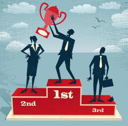 winner podium: Abstract Businessman celebrates on Winning Podium Great illustration of Retro styled Businessman proudly standing on the winners podium next to his rivals with his trophy