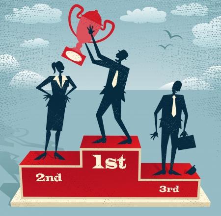 Abstrakt Geschäftsmann feiert am Podium gewinnen Große Illustration von Retro-Stil Geschäftsmann steht stolz auf dem Siegerpodest neben seinem Rivalen mit seiner Trophäe