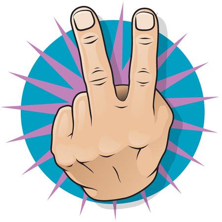 Vintage-Pop Two Fingers Up Geste Große Illustration von Pop Art Comic-Stil zwei Finger Gesten negativ und obszöne Unzufriedenheit