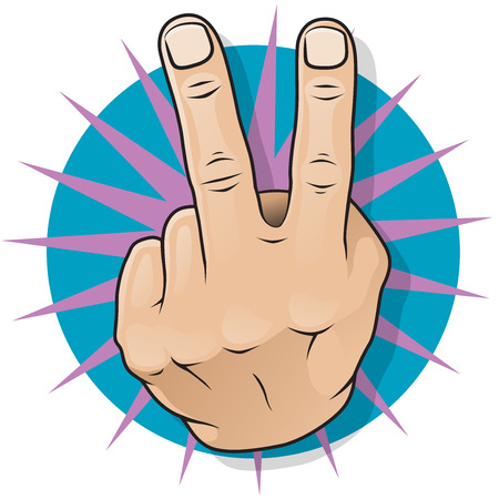 Vintage Pop Two Fingers Up Gesture  Great illustration of pop Art comic book style Two Fingers Up gesturing negative and obscene dissatisfaction  Illusztráció