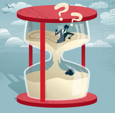 hour glass: Abstract Businesswoman Trapped in Egg timer  Illustration