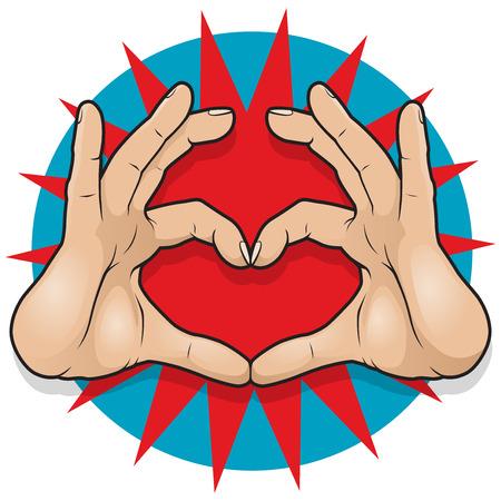 comunicacion no verbal: Muestra del vintage del arte pop del corazón de la mano