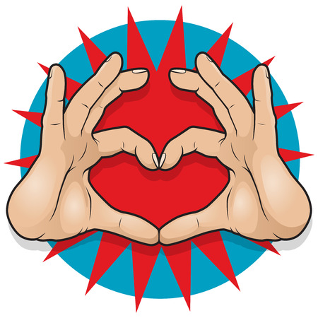 emotional love: Vintage Pop Art Heart Hand Sign