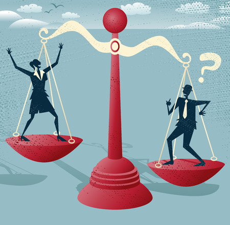 tribunal: Abstract Business people and Dollar Sign balance on giant scales   Illustration