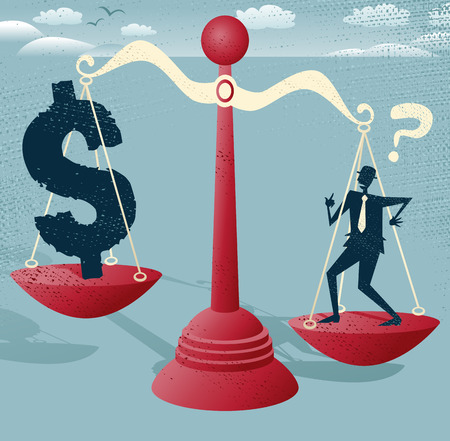 predicament: Abstract Businessman and Dollar Sign balance on giant scales