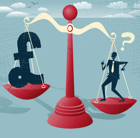 predicament: Abstract Businessman and pound Sign balance on giant scales