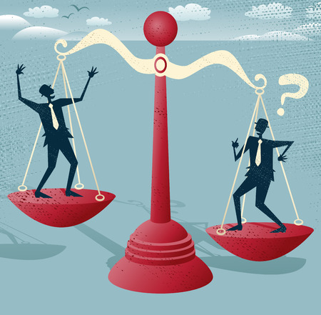 predicament: Abstract Businessmen balance on giant scales