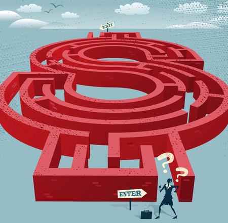 predicament: Abstract Businesswoman enters a Dollar Maze