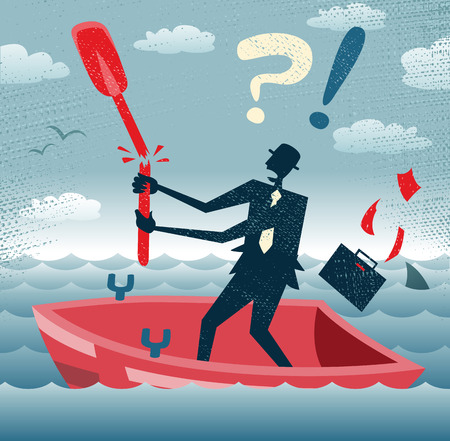drifting: Abstract Businessman is without a paddle  Great illustration of Retro styled Businessman lost at sea without a paddle to help him get back to dry land  Illustration