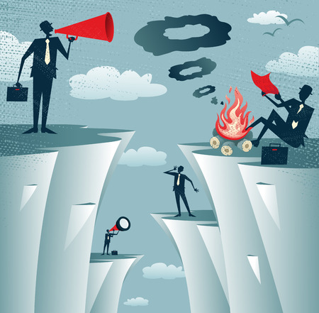 communication: Grande illustration de style rétro d'affaires essayant désespérément de communiquer avec l'autre à travers différentes méthodes, mais finalement échoué dans leurs efforts