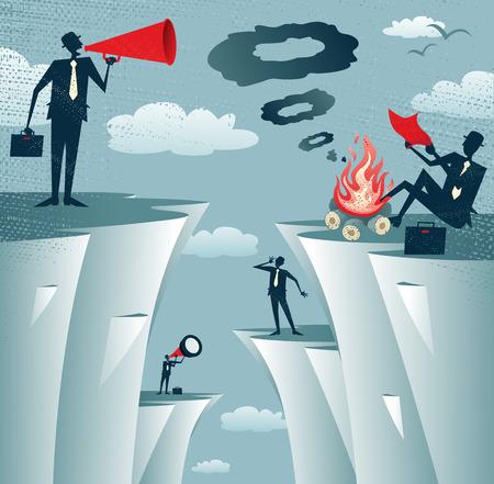 comunicazione: Grande illustrazione di stile retrò uomini d'affari che cerca disperatamente di comunicare tra loro attraverso vari metodi, ma alla fine non avendo nei loro sforzi
