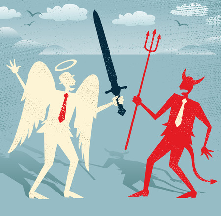 Great illustration of Retro styled Abstract Businessmen as both a devil and an angel fighting the battle of Good and Evil.