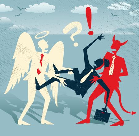 ethics and morals: Great illustration of Retro styled Abstract Businessman who is caught in a titanic struggle between a Devil and an Angel fighting the battle of Good and Evil. Illustration