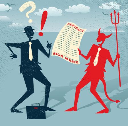 추상 사업가 악마와 거래를 서명합니다. 복고풍의 큰 그림은 악마와 거래에서 자신의 인생을 멀리 서명 거세한 숫양을 결정하는 추상 사업가 스타일.