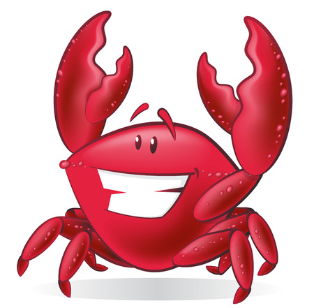 Great illustration of a Cute Cartoon Crab holding up his Pincer Claws. Vector