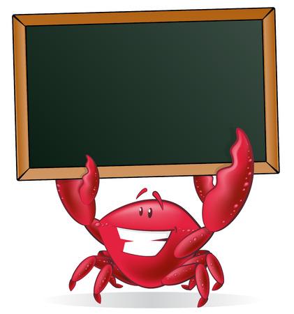 cangrejo: El cangrejo lindo que sostiene la muestra en blanco. Gran ejemplo de un cangrejo lindo de la historieta que sostiene una pizarra de tiza estilo con sus tenazas para mostrar su menú de pescado.