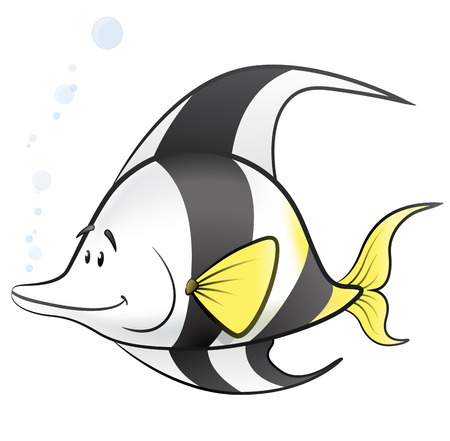 fishes: Cute Cartoon Tropical Fish Illustration. Great illustration of a Cute Tropical Fish swimming along with bubbles.
