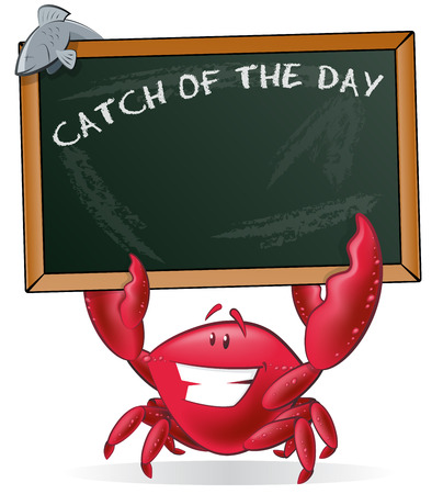 fishy: Cute Crab holding Sign. Great illustration of a Cute Cartoon Crab holding a chalk style blackboard with his Pincers to display his fishy menu. Illustration
