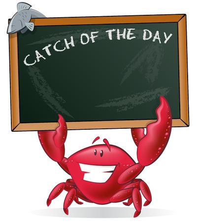 cangrejo caricatura: Linda celebraci�n signo del Cangrejo. Gran ejemplo de un cangrejo lindo de la historieta que sostiene una pizarra de tiza estilo con sus tenazas para mostrar su men� de pescado. Vectores