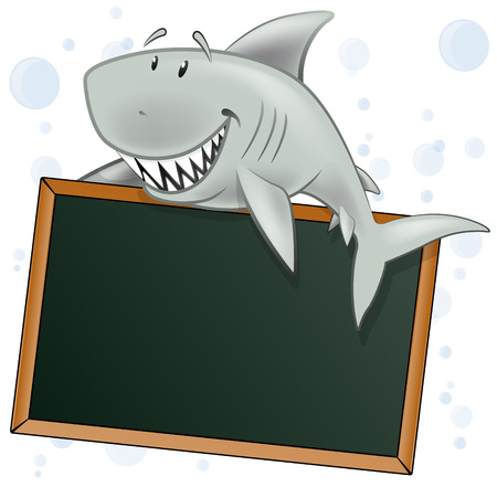 oceano: Carácter tiburón lindo con la muestra en blanco. Gran ejemplo de un Cute dibujos animados gran tiburón blanco que sostiene una pizarra en blanco estilo de la muestra del restaurante. Vectores