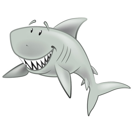 Cute Shark Character. Great illustration of a Cute Cartoon Great White Shark swimming along in the sea. Vector