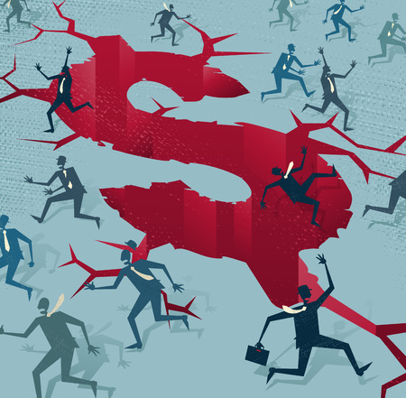 Abstract Businessmen run from a Financial Disaster. Great illustration of Retro styled Businessmen running to safety from an impending financial disaster.