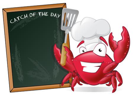 cangrejo caricatura: Cangrejo lindo del cocinero con la espátula y la Junta de menú. Gran ejemplo de un cocinero lindo del cangrejo de dibujos animados con una fritura Espátula junto al Consejo de Menú. Vectores