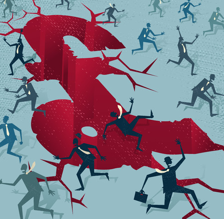 Abstract Businessmen run from a UK Financial Disaster. Great illustration of Retro styled Businessmen running to safety from an impending financial disaster in the United Kingdom.