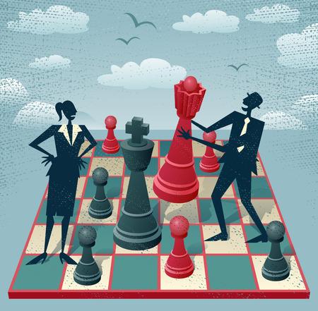 抽象のビジネスマンやビジネスウーマンはチェスのゲームをプレイします。レトロの素晴らしいイラスト スタイルのビジネスの人々 は、巨大なチェ