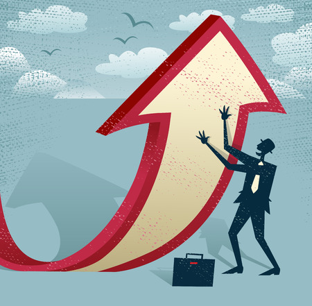 Abstract Businessman manipulates the figures. Great illustration of Retro styled Businessman cleverly changing the path of a huge arrow to suggest a positive increase.