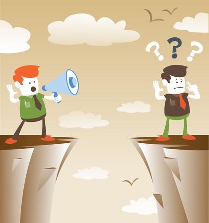 bluff: Ragazzi aziendali comunicanti dalla distanza. Grande illustrazione di stile retr� Guy Corporate in piedi sulle scogliere gridando nella parte superiore della sua voce attraverso un megafono altoparlante al suo collega che sta cercando di ascoltarlo.