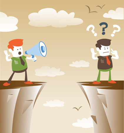 Corporate Guys communicating from distance. Great illustration of Retro styled Corporate Guy standing on the cliffs shouting at the top of his voice through a loudspeaker megaphone to his colleague who is trying to hear him.