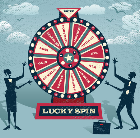 Abstract Business people with Financial Wheel of Fortune. Abstract Business take the ultimate gamble on the business futures by playing on the Financial Wheel of Fortune.