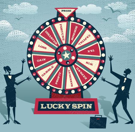 ruleta: La gente de negocios abstractos con la rueda de la fortuna financiera. Resumen Negocios tomar la apuesta definitiva sobre los futuros negocios jugando en la Rueda de la Fortuna Financiera.